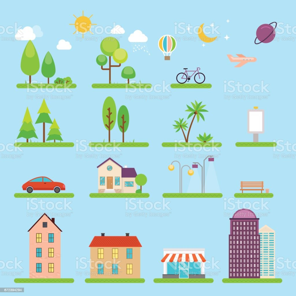 Vector city illustration in flat style. Icons and illustrations with buildings, houses and architecture signs. Ideal for business web publications, graphic design. Flat style vector illustration. vector art illustration