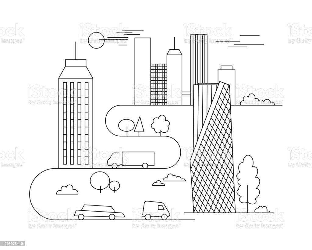 Ilustración de Ilustración De Ciudad Vector De Plantilla De Estilo ...