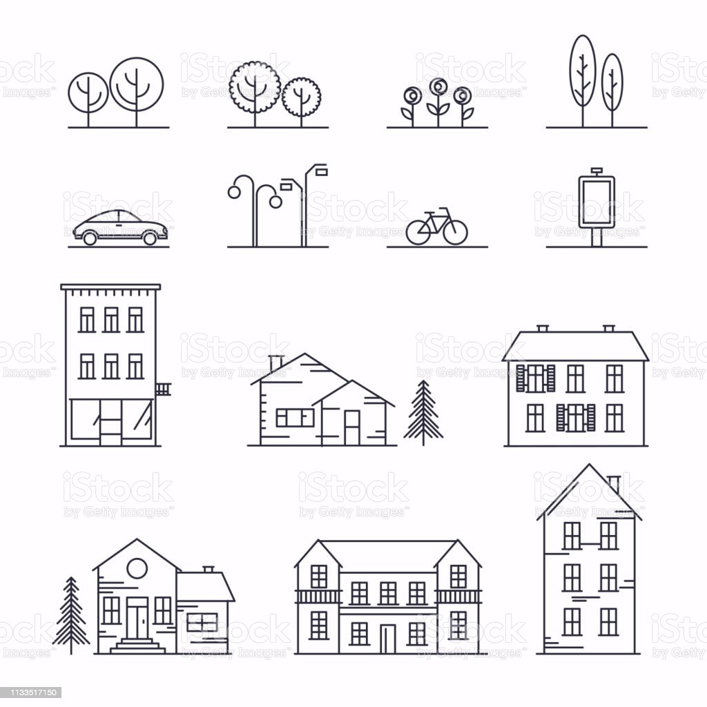 Vector city illustration in linear style. Icons and illustrations...