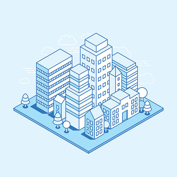 Vector city landscape isometric illustration Vector city landscape isometric illustration - business concept and banner in trendy linear style  on blue background architecture illustrations stock illustrations