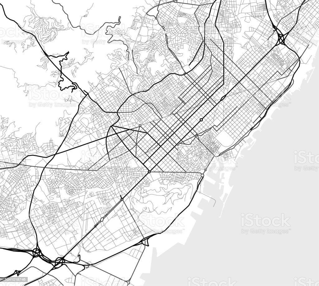 Spanien Karte Schwarz Weiß.Vektorstadtplan Von Barcelona In Schwarz Weiß Stock Vektor Art Und