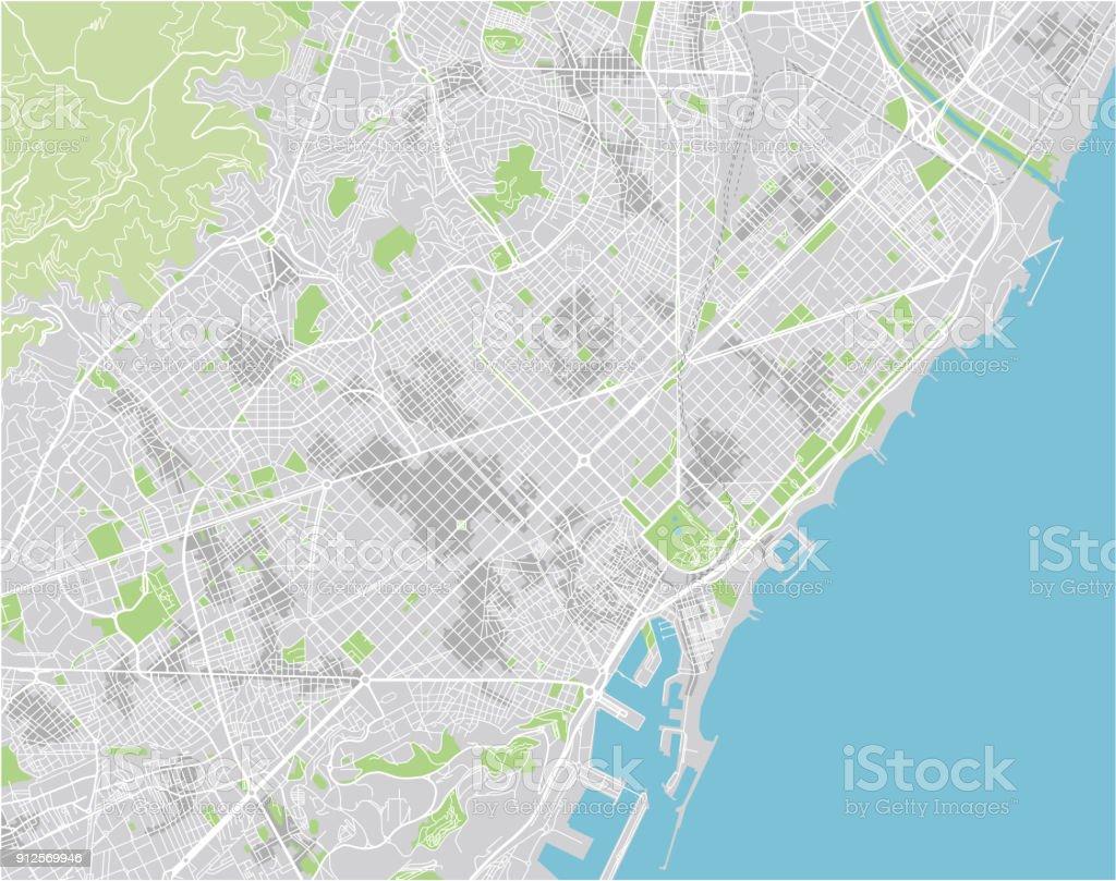 Vector mapa de la ciudad de Barcelona con capas separadas bien organizadas. - ilustración de arte vectorial