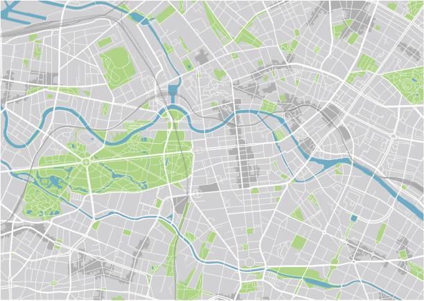 bildbanksillustrationer, clip art samt tecknat material och ikoner med vector stadskarta av berlin med välorganiserad åtskilda lager. - berlin street