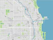 Vector city map of Chicago with well organized separated layers.