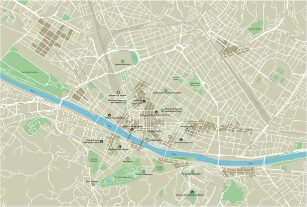 illustrazioni stock, clip art, cartoni animati e icone di tendenza di vector city map of florence with well organized separated layers. - firenze
