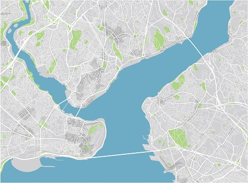Vector city map of Istanbul with well organized separated layers.