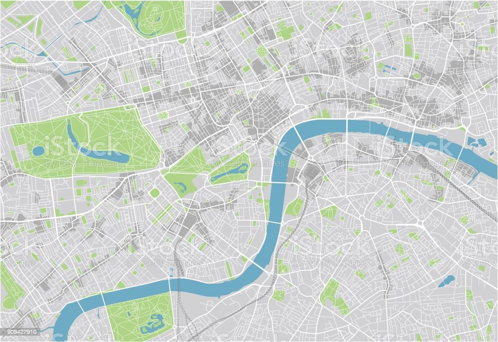 London England City Map.Vector City Map Of London With Well Organized Separated Layers Stock