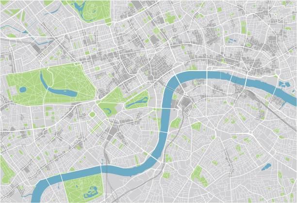stockillustraties, clipart, cartoons en iconen met vector stadsplan van londen met goed georganiseerde gescheiden lagen. - fysische geografie