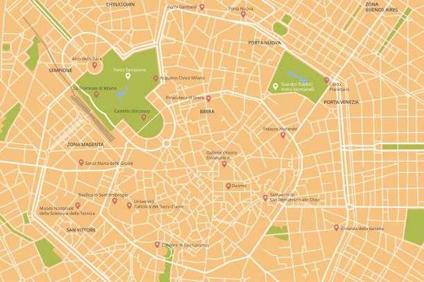 illustrazioni stock, clip art, cartoni animati e icone di tendenza di vector city map of milan, italy - milan