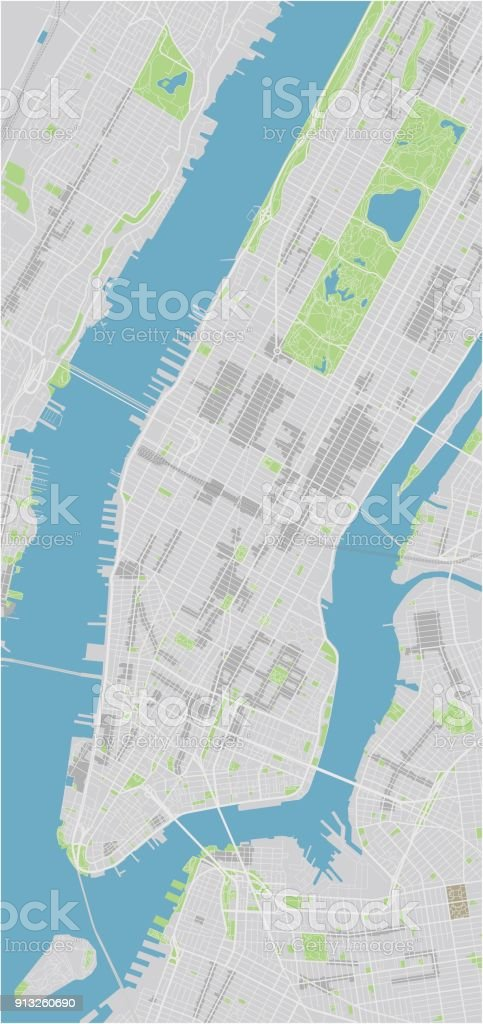 Vector city map of New York with well organized separated layers. vector art illustration