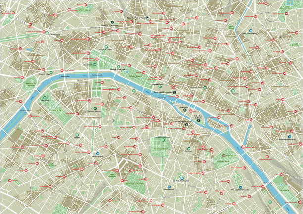Vector city map of Paris with well organized separated layers. Vector city map of Paris with well organized separated layers. seine river stock illustrations