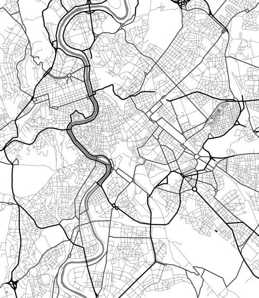 illustrations, cliparts, dessins animés et icônes de carte de ville de vecteur de rome en noir et blanc - rome