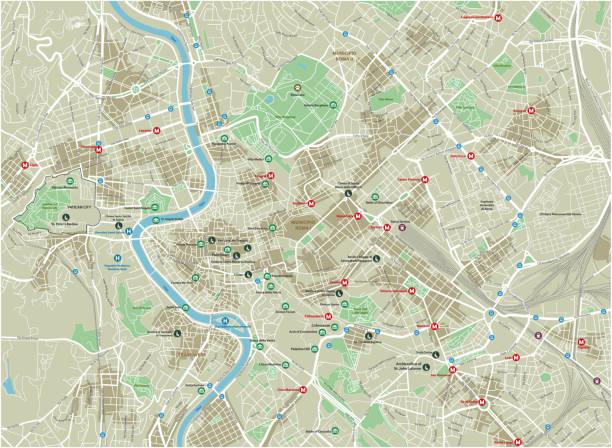 illustrations, cliparts, dessins animés et icônes de carte de ville de vecteur de rome avec des couches séparées bien organisés. - rome