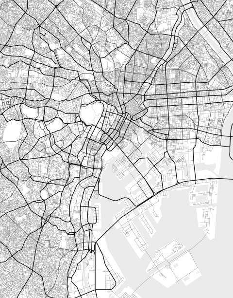 Vector city map of Tokyo in black and white Vector map of Tokyo in black and white, city map simple style tokyo stock illustrations
