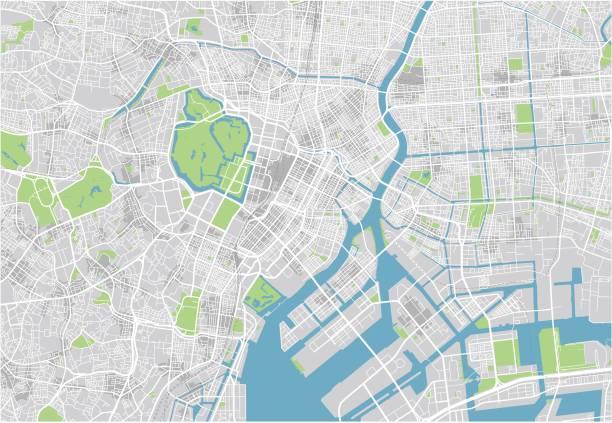 よく組織化された分離層を持つ東京のベクトル都市地図。 - 東京点のイラスト素材/クリップアート素材/マンガ素材/アイコン素材