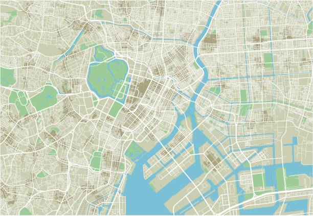 Vector city map of Tokyo with well organized separated layers. Vector city map of Tokyo. tokyo stock illustrations