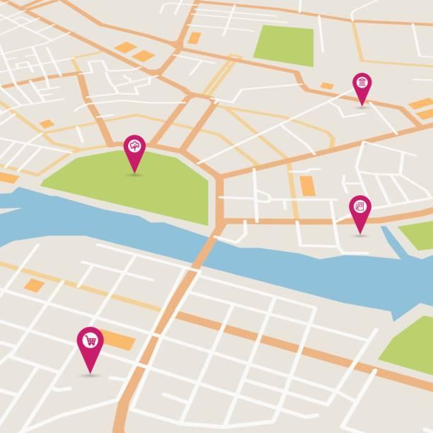 ilustraciones, imágenes clip art, dibujos animados e iconos de stock de vector de mapa de la ciudad - señalización vial