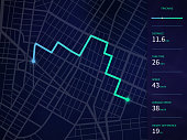 Vector city map with route and data interface for gps navigation and tracker app. Roadmap navigators UI, navigation plan vector illustration