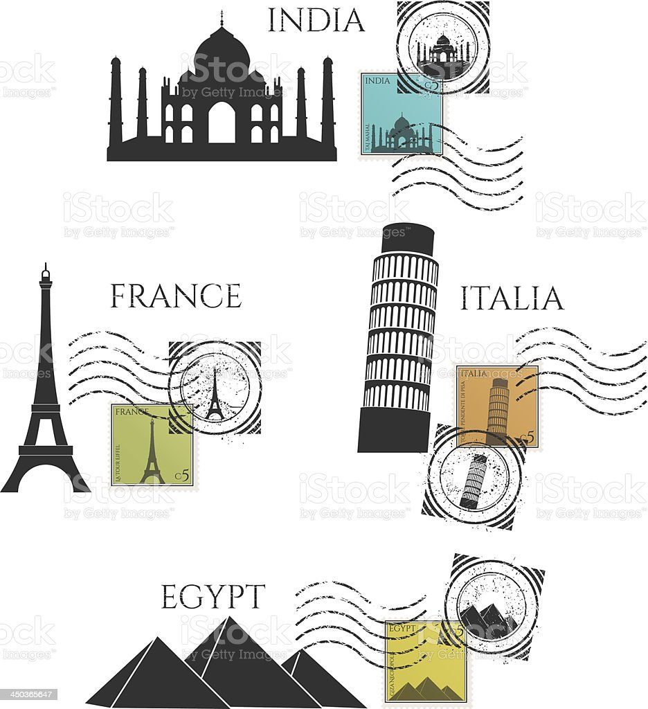vector city monuments and postage stamps royalty-free stock vector art