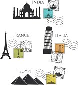 vector city monuments and postage stamps