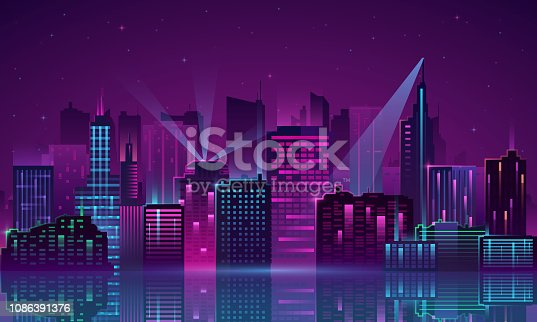 istock Vector City neon 1086391376