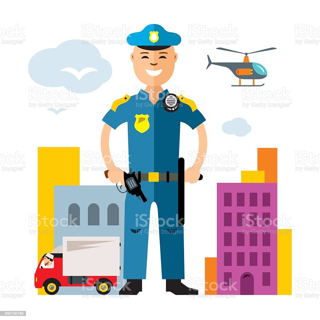 vector city police law enforcement flat style colorful cartoon