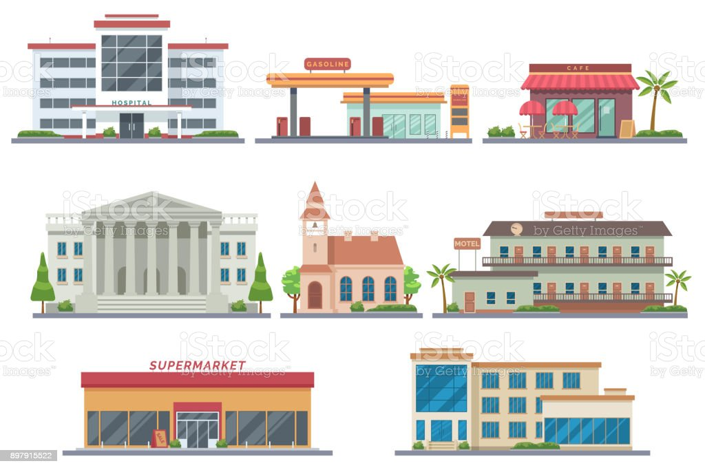 Vector city public buildings set. Hospital, gas station, cafe, bank, church, motel, supermarket, school. Isolated on white background. Architecture flat illustration. Urban infrastructure. Eps 10 vector art illustration