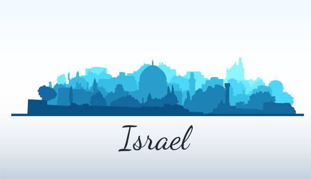 ilustrações, clipart, desenhos animados e ícones de silhueta da cidade do vetor. jerusalém, israel - israel