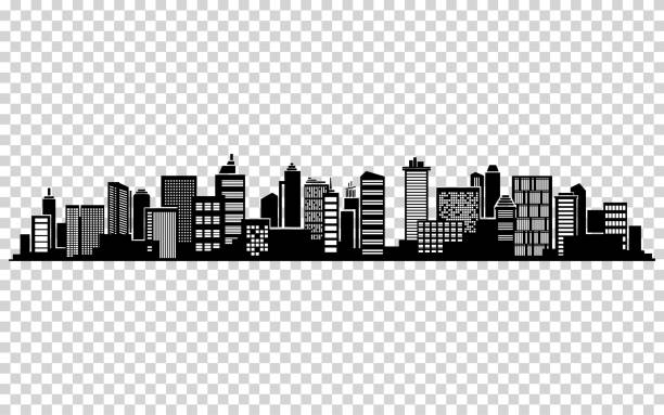 Vector city silhouette Vector city silhouette. Cityscape vector design. Skyline architecture cityscape stock illustrations