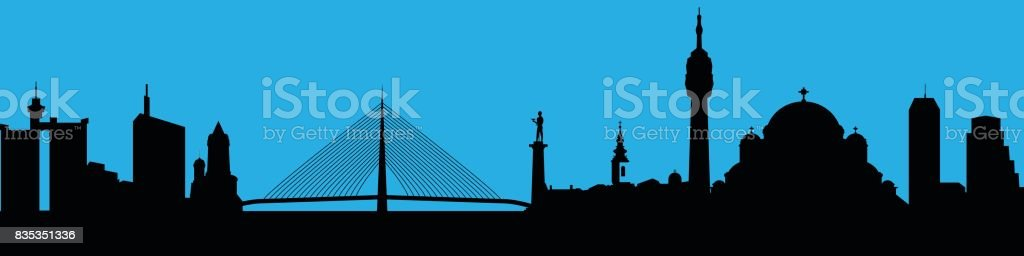 Vector city skyline silhouette vector art illustration