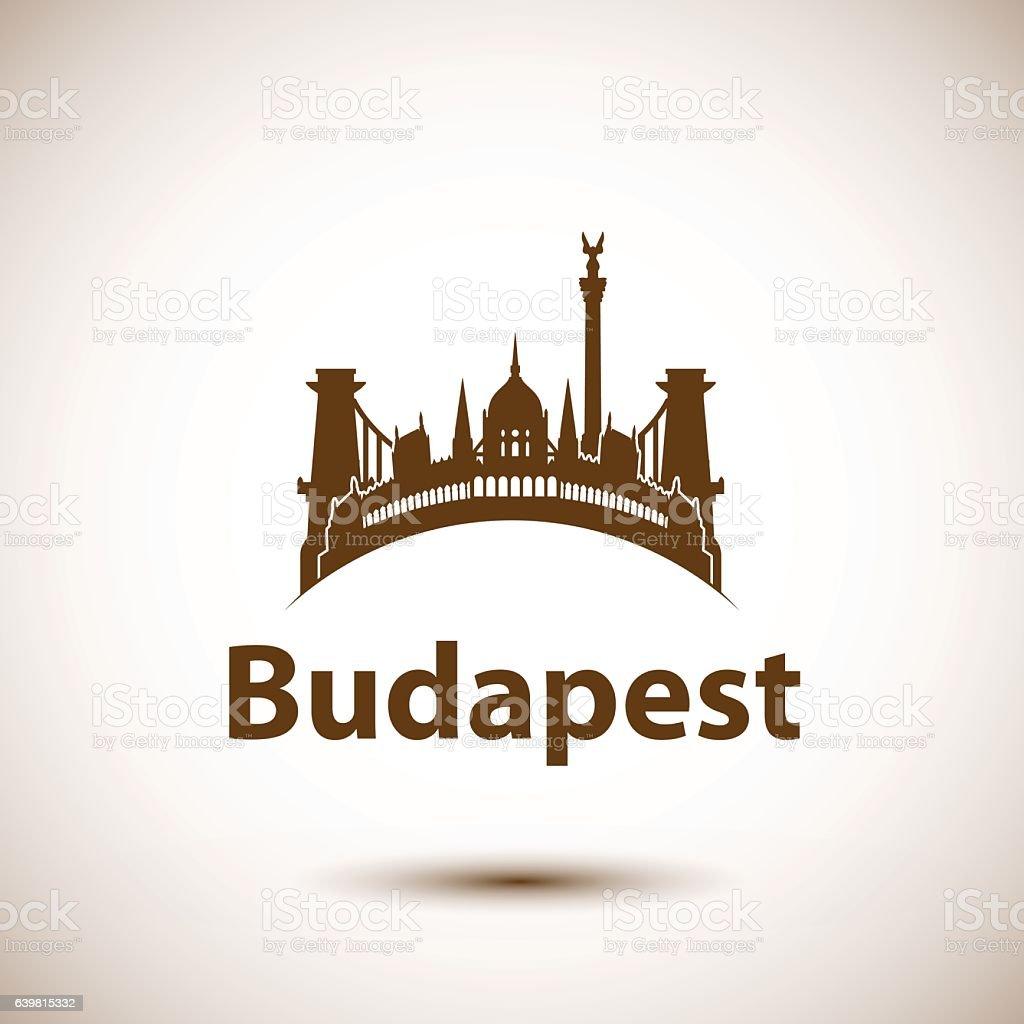 Vector city skyline with landmarks Budapest Hungary – Vektorgrafik