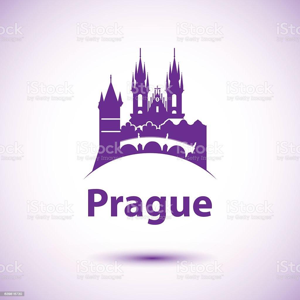 Vector city skyline with landmarks Prague Chezh Republic vector art illustration