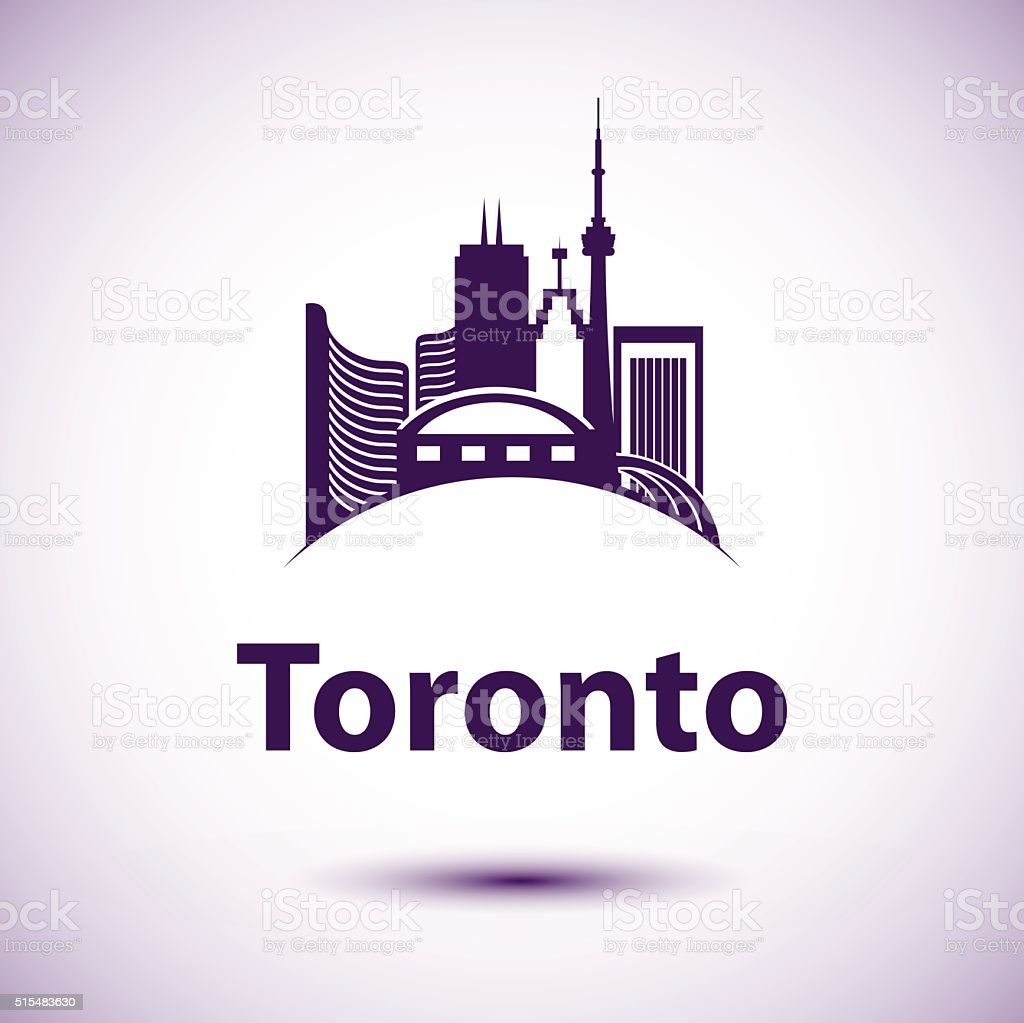 Vector city skyline with landmarks Toronto Ontario Canada. vector art illustration