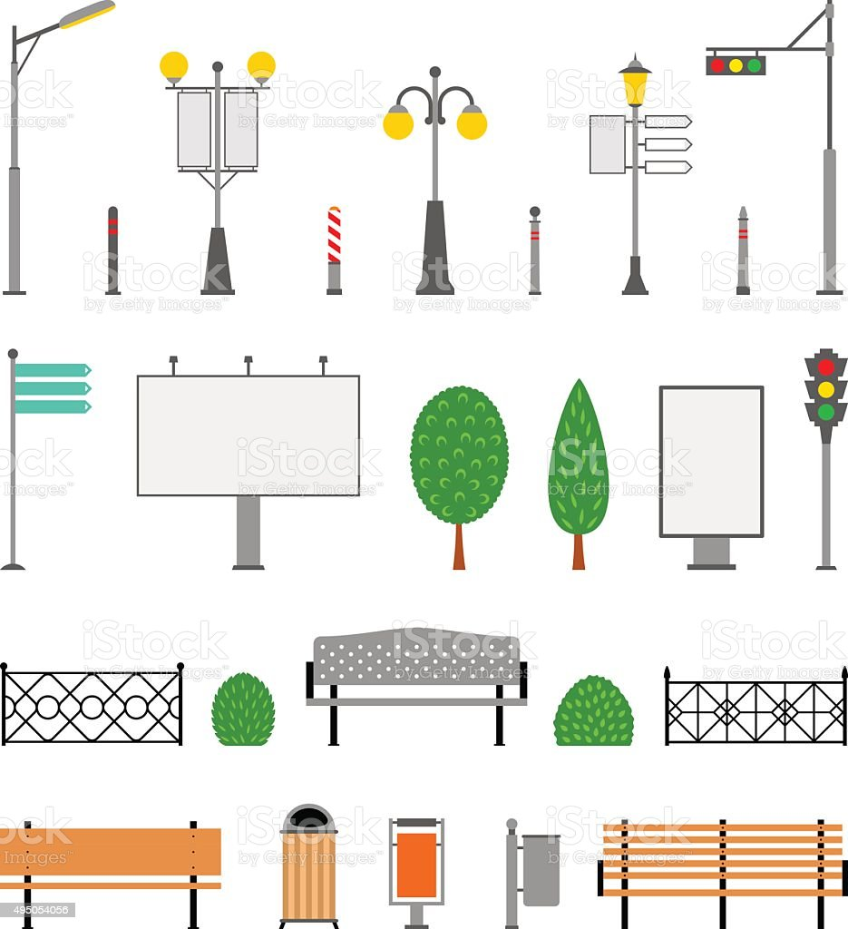 Vector City, Street, Park and Outdoor Elements Icons Set vector art illustration