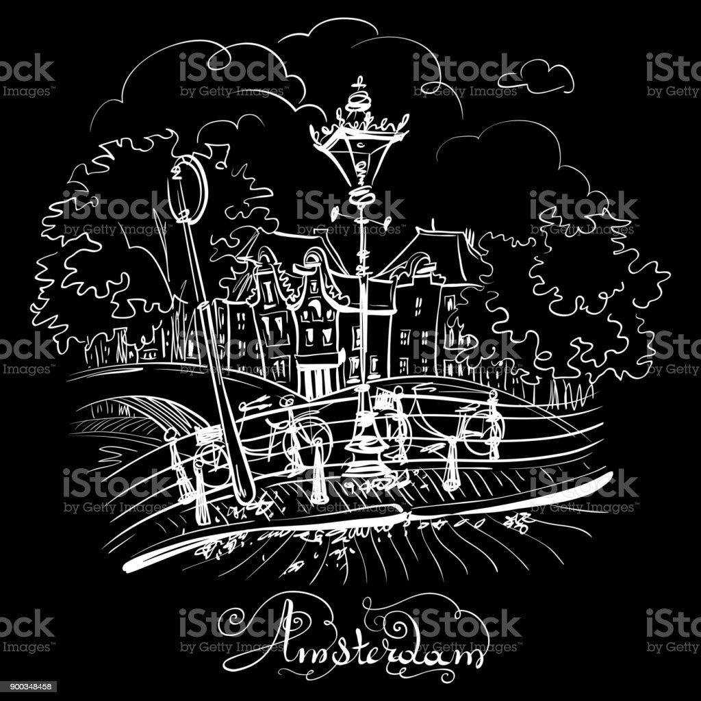 Vector city view of Amsterdam bridges vector art illustration