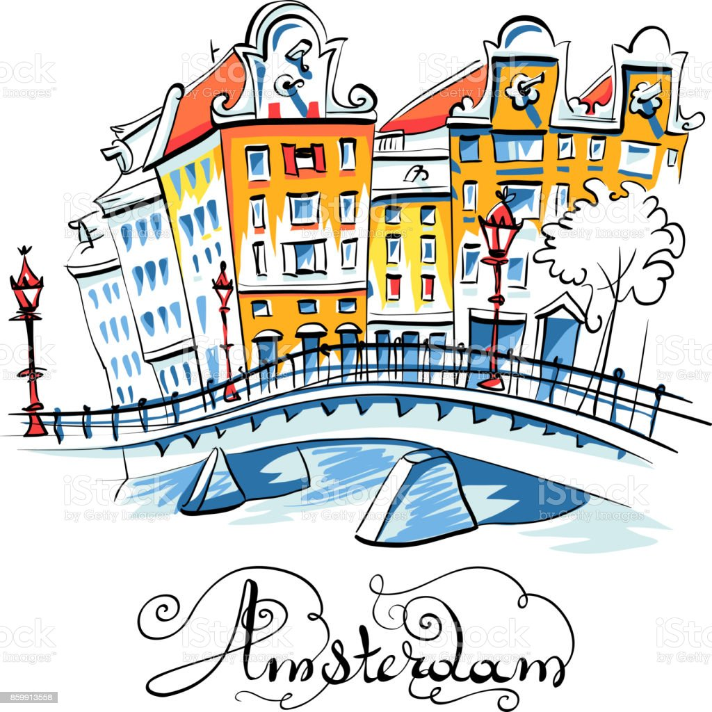 Vector city view of Amsterdam canal vector art illustration