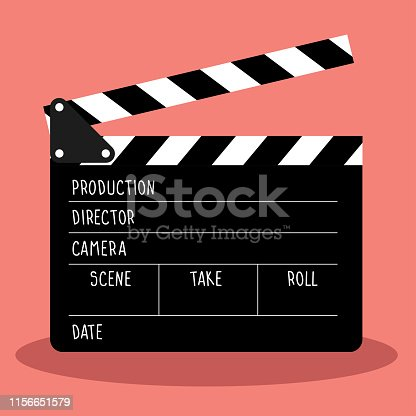 vector clapboard for cinema. frame film and slate have space for text.