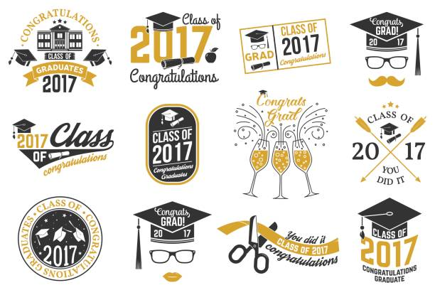 Vector Class of 2017 badge vector art illustration