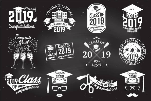 vector class of 2019 badge. concept for shirt, print, seal, overlay or stamp, greeting, invitation card - class stock illustrations