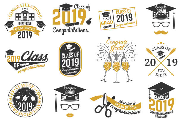Vector Class of 2019 badge vector art illustration