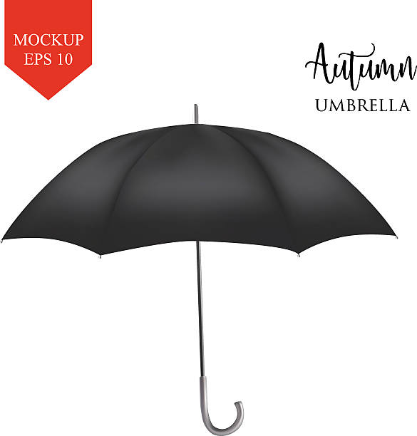 illustrazioni stock, clip art, cartoni animati e icone di tendenza di vector classic black round rain umbrella side view. isolated background - mockup outdoor rain