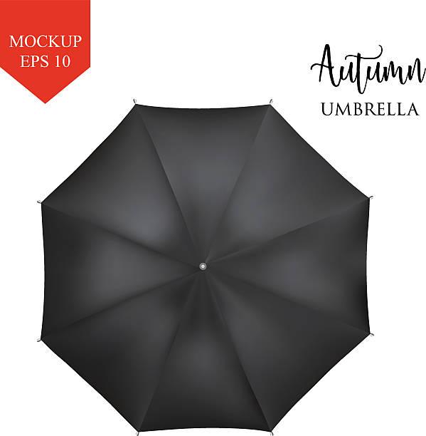 illustrazioni stock, clip art, cartoni animati e icone di tendenza di vector classic black round rain umbrella top view. isolated background - mockup outdoor rain