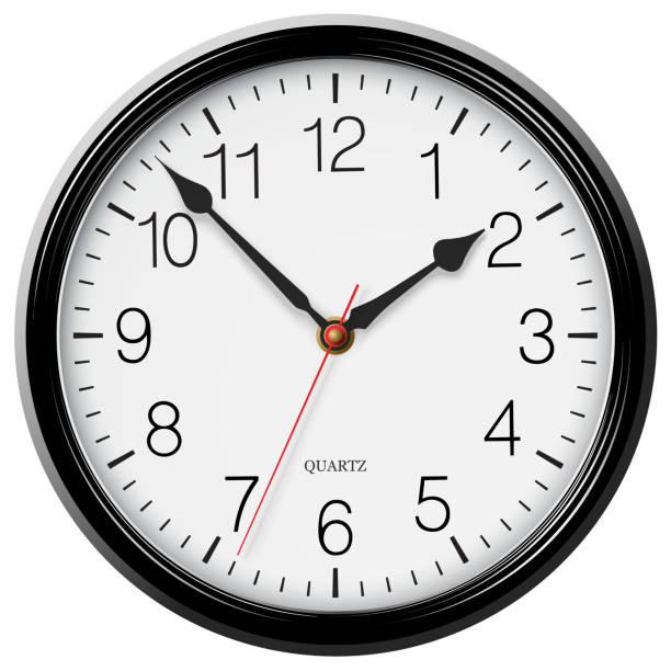 ilustraciones, imágenes clip art, dibujos animados e iconos de stock de reloj de pared redondo negro clásico de vector - wall clock