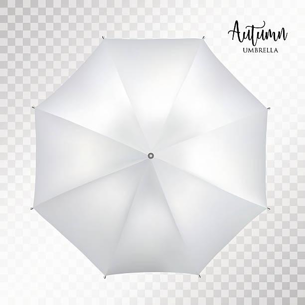 illustrazioni stock, clip art, cartoni animati e icone di tendenza di vector classic grey round rain umbrella top view. transparent background - mockup outdoor rain
