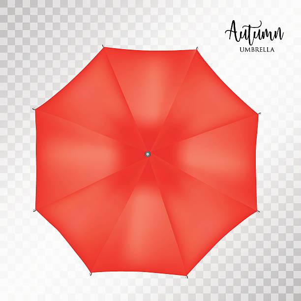 illustrazioni stock, clip art, cartoni animati e icone di tendenza di vector classic redround rain umbrella top view. transparent background - mockup outdoor rain