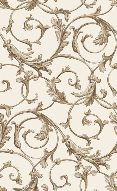 벡터 클래식 원활한 패턴 배경입니다. 클래식 럭셔리 오래 된 구식된 고전적인 장식, 로얄 빅토리아 원활한 질감 배경 화면, 섬유, 포장. 절묘 한 꽃 바로크 서식 파일 - 바로크 양식 stock illustrations