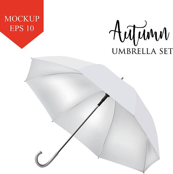 illustrazioni stock, clip art, cartoni animati e icone di tendenza di vector classic white round rain umbrella side view. isolated background - mockup outdoor rain