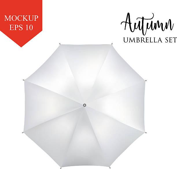 illustrazioni stock, clip art, cartoni animati e icone di tendenza di vector classic white round rain umbrella top view. isolated background - mockup outdoor rain