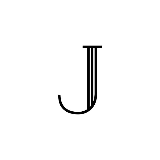 Vector Classical Letter J Lines Black and White Classical Vector Logo Letter J. J Letter Design Vector letter j stock illustrations