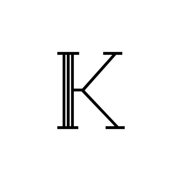 Vector Classical Letter K Lines Black and White Classical Vector Logo Letter K. K Letter Design Vector k logo stock illustrations